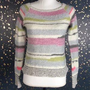 Free People Knit Tapestry Striped Sweater Sz Small